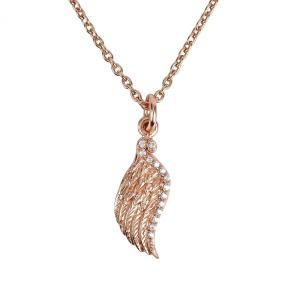 ネックレス 天使の羽 プラチナ 18金 ゴールド ピンクゴールド CZ ジルコニア フェザー レディース プレゼント ギフト|markgraf