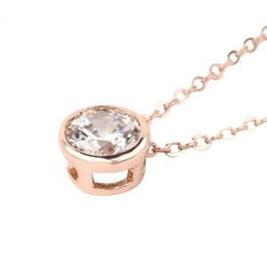 「ピンクゴールドにスワロフスキーキュービックジルコニア」人気のシンプルな一粒 大粒 ダイヤ。 大切な...