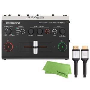 Roland V-02HD + RCC-3-HDMI + マークスミュージック オリジナルクロス セット マルチフォーマットビデオミキサー|マークスミュージック