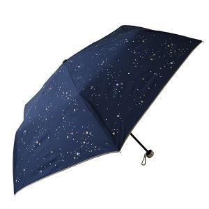 折りたたみ傘 レディース UVカット率90%以上 軽量 晴雨兼用 COSMIC・2カラー ネイビー ...