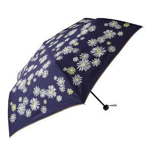 折りたたみ傘 レディース UVカット率90%以上 軽量 晴雨兼用 フラワー ネイビー マークス