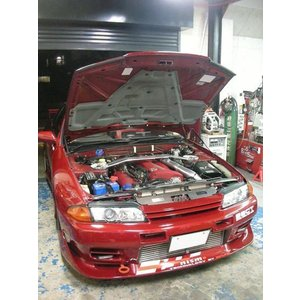 S660[JW5](社外軽量フード装着車用)エンジンフードダンパー シルバーカーボン maroya