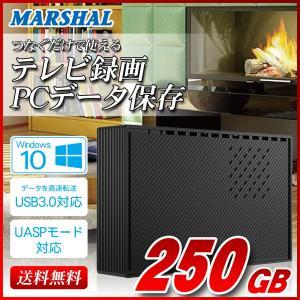 外付け HDD ハードディスク 250GB Windows10対応 TV録画 REGZA ブラック|marshal