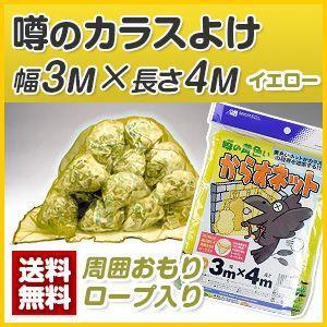 カラス対策・カラスネット 噂の黄色いカラスよけ3m×4m(黄) ゴミネットの画像