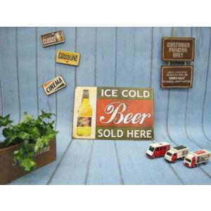 (4■1B)新品 アメリカンブリキ看板 「ICE COLD Beer」 【S-B34】  mart-net