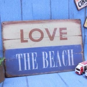 (4■1B)アメリカン ブリキ 看板 ★LOVE THE BEACH★【S-B50】/●|mart-net