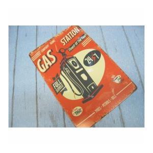 (4■1B)新品 アメリカンブリキ看板 「GAS STATION」 【S-B41】|mart-net