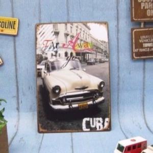 (4■1B)新品 アメリカンブリキ看板 「White Car 外車」 【S-B30】 |mart-net