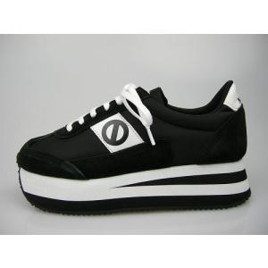 ノーネーム/NO NAME  P JOG ナイロン ブラック/ホワイト 美脚スニーカー 靴|marthnagoya