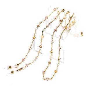 2連ネックレスやブレスレットにもなる「3WAYゴールド・メガネチェーン(レディース眼鏡ストラップ)」(ブラウンミックス)|marucomarket