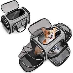 Estarer キャリーバッグ 猫 犬 折りたたみ 拡張可能 顔出し 反射テープ付き 通気性抜群 安定性 旅行/お出かけ/通院/避難用 (グ|marucomarket