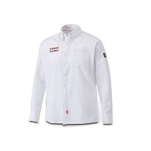 日産コレクション ファッション ボタンダウンシャツ ロング ホワイト Lサイズ KWA0160K43WT|marucorp