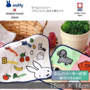 今治タオル ブランド認定  ミッフィー  クールミッフィー プリント ミニハンカチ 2枚セット miffy ギフト  国産 日本製 かわいい ディックブルーナ|maruei-towel