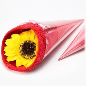 ヒマワリハンカチブーケ【花 バスフレグランス 入浴剤 ソープフラワー ギフト ホワイトデー 卒業祝 入学祝】|maruhana-flower