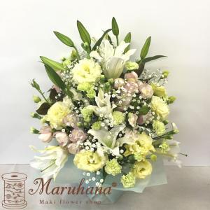 お供えアレンジメントLL【送料無料】生花アレンジメント お供え・お悔やみに贈る花 フラワー maruhana-flower