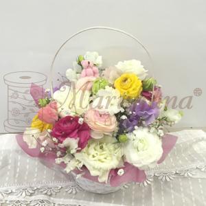 お供えアレンジメントM【送料無料】生花アレンジメント お供え・お悔やみに贈る花 フラワー maruhana-flower