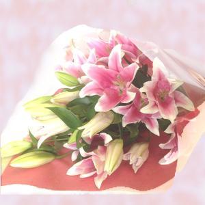 ユリ5本の花束【送料無料】お祝・誕生日からお供まで ユリ花束・配達日指定可! maruhana-flower
