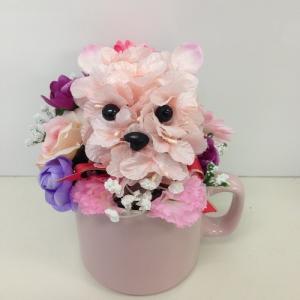『わんわんフラワーアレンジメント 』アーティフィシャルフラワー【送料無料】犬 ペット 花 開業祝/開店祝/移転祝い/お誕生日/各種ギフト/お供えに|maruhana-flower