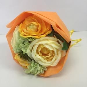 『スプリングブーケ』オレンジ アーティフィシャルフラワー【送料無料】花 フラワー 枯れない 開業祝 開店祝 移転祝い お誕生日 各種ギフト お供え|maruhana-flower