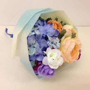 『スプリングブーケ』ブルー アーティフィシャルフラワー【送料無料】花 フラワー 枯れない 開業祝 開店祝 移転祝い お誕生日 各種ギフト お供え|maruhana-flower
