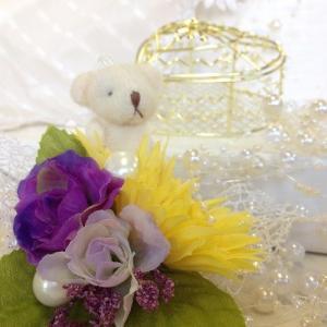 『ロマンチックハート ホワイトベア』アーティフィシャルフラワー【送料無料】|maruhana-flower