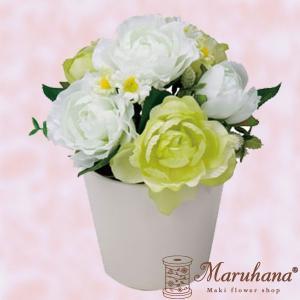 ローズポット S グリーンホワイト【送料無料】アーティフィシャルフラワー|maruhana-flower