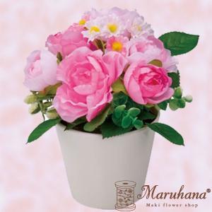 ローズポット S ピンクビューティー【送料無料】アーティフィシャルフラワー|maruhana-flower