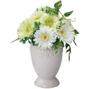 ガーベラポット L グリーンホワイト【送料無料】アーティフィシャルフラワー|maruhana-flower
