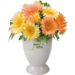 ガーベラポット L イエローオレンジ【送料無料】アーティフィシャルフラワー|maruhana-flower