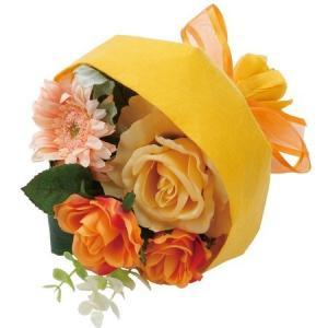 ローズミックスブーケ イエローオレンジ 【送料無料】 アーティフィシャルフラワー 花 フラワー 枯れない 開業祝 開店祝 移転祝い お誕生日 各種ギフト お供え|maruhana-flower