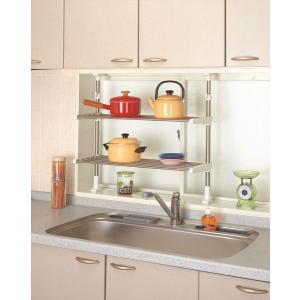 突ぱりステンレス2段棚 TOS-9 平安伸銅工業 キッチン 収納 つっぱり ラック 簡単設置|maruhanashop
