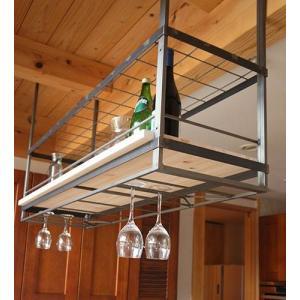 ムク キッチン吊り棚 メッシュ棚+木板1段使用 MUK-1560-M クリア塗装(木板別売り)杉山製作所|maruhanashop