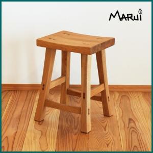 くるみ角スツール オイル塗装 ライト ダークブラウン 2色 天然木製 クルミ無垢 椅子|marui-kagu