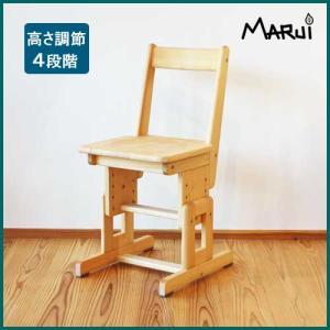 SDチェア/板座 国産ヒノキ無垢 オイル仕上げ 天然木製 学習机用椅子 高さ調節脚 日本製|marui-kagu