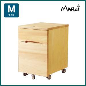 2Dデスクワゴン・M型 2段 A4収納 キャスター付 国産ヒノキ無垢 自然オイル塗料 天然木製 学習机用ワゴン 日本製