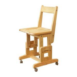 SCチェア/板座 キャスター付 国産ヒノキ無垢 オイル仕上げ 天然木製 コンパクト 学習机用椅子 高さ調節 日本製|marui-kagu
