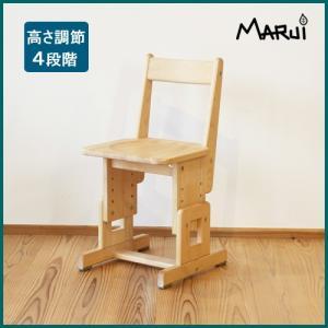 SCチェア/板座 国産ヒノキ無垢 オイル仕上げ 天然木製 コンパクト 学習机用椅子 高さ調節 日本製|marui-kagu
