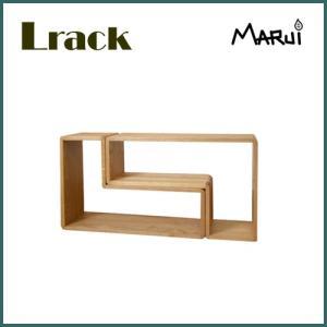 ナラ無垢 Lラック/小 ライト色 ディスプレイラック 天然木製 収納棚 CD DVDラック |marui-kagu