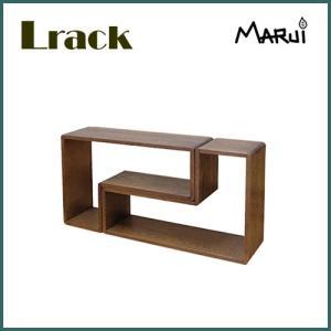 ナラ無垢 Lラック/小 ダーク色 ディスプレイラック 天然木製 収納棚 CD DVDラック|marui-kagu