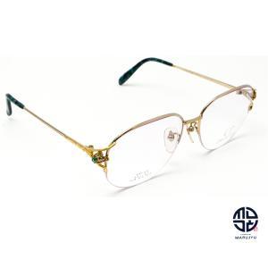 京セラ CRESCENT VERT クレサンベール CV-43 K18Dec 一部18金 メガネ 眼鏡 フレーム 合成エメラルド ダイヤモンド marujyu78-brand