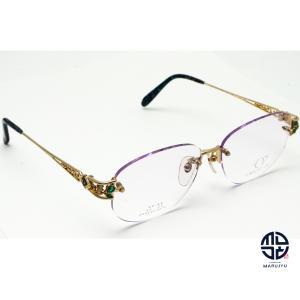 京セラ CRESCENT VERT クレサンベール CV-68 K18Dec 一部18金 メガネ 眼鏡 フレーム 合成エメラルド ダイヤモンド marujyu78-brand