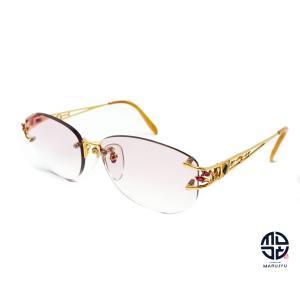 京セラ CRESCENT VERT クレサンベール CV-63 K18 18金イエローゴールド メガネ 眼鏡 フレーム 合成ルビー ダイヤモンド 総重量約38.8g marujyu78-brand