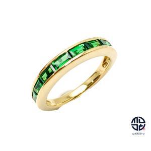 K18 18金イエローゴールド グリーングロシュラーガーネット ツァボライト ハーフエタニティ リング 指輪 10.5号 0.99ct ミニカード付き marujyu78-brand