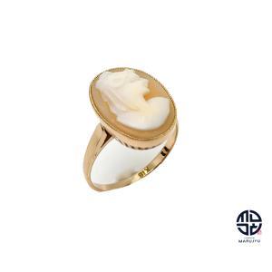 K18 18金イエローゴールド シェルカメオ リング 指輪 7号 marujyu78-brand