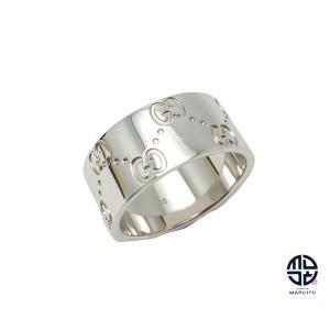 GUCCI グッチ 750 18金ホワイトゴールド アイコン ワイド リング 指輪 16号(実寸15号) 約9.7g marujyu78-brand