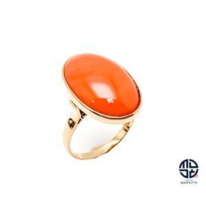 K18 18金イエローゴールド 珊瑚 サンゴ カボション リング 指輪 13号 ミニカード付き marujyu78-brand