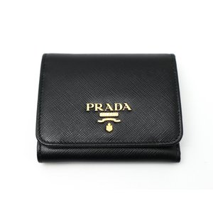 PRADA プラダ 黒 サフィアーノ コンパクト 3つ折り財布 1MN176|marujyu78-brand