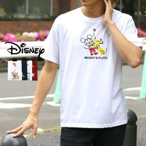 Tシャツ メンズ Disney ディズニー 半袖 キャラクター 刺繍 ティーシャツ カットソー ミッキー ドナルド|marukawa7