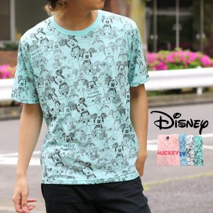 Tシャツ メンズ ディズニー Disney 半袖 総柄 プリント ティーシャツ カットソー ミッキー Mickey|marukawa7