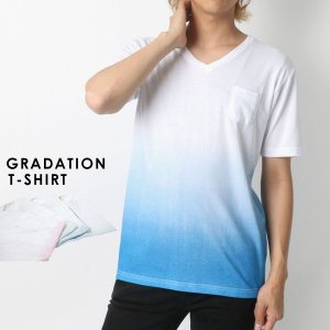 Tシャツ メンズ 半袖 Vネック グラデーション プリント ポケット 付き グラデ ポケT ティーシャツ|marukawa7